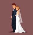 man and woman bride and husband hug at wedding vector image vector image