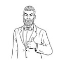man with beard thumbs up coloring book vector image