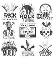 monochrome set music theme emblems vector image vector image