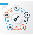 music icons set collection of start cd silence vector image vector image