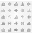 Music sound wave icons set vector image vector image