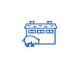 pig farm line icon concept pig farm flat vector image vector image