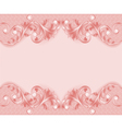 pink background with ornament and pearls vector image vector image