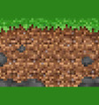 pixel grass and ground blocks game pattern vector image