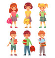 primary school kids cartoon children pupils with vector image