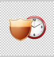 protected guard shield and classic red clock vector image vector image