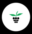 raspberry fruit simple black and green icon eps10 vector image vector image