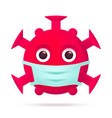 red virus emoticon with medical mask coronavirus vector image vector image