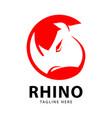 rhino head logo design template vector image vector image