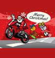 santa riding sport bike vector image