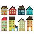 set colorful houses front view vector image