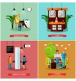 set of airport concept design elements in vector image