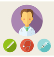 Set of flat style icons Doctor vector image vector image