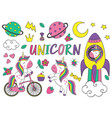 set of isolated cute unicorn and elements part 2 vector image vector image