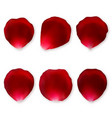 set of red rose petals vector image vector image
