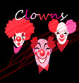 set silhouettes clown masks vector image
