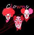 set silhouettes clown masks vector image