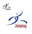 Sports abstract emblem with jumping athlete vector image vector image