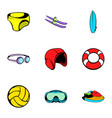 swim icons set cartoon style vector image vector image