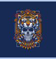 tiger and skull vector image vector image