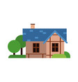 traditional old house with blue roof ancient vector image vector image