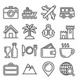 travel and transport icons set line style vector image
