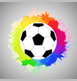 white soccer ball with watercolor rainbow spray vector image