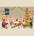 winter christmas party with kids people vector image