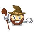 witch macadamia mascot cartoon style vector image vector image