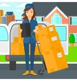 Woman delivering boxes vector image vector image