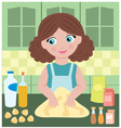 Woman prepares dough vector | Price: 1 Credit (USD $1)