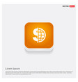 world currency icon orange abstract web button vector image