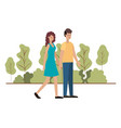 young couple in landscape avatar character vector image vector image