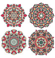 set of multicolored mandala vector image