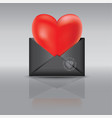 an open black envelope red heart vector image