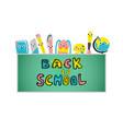 back to school poster school supplies vector image vector image