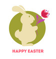 bunny tulips and colored eggs easter holiday vector image vector image