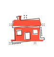 cartoon house icon in comic style building sign vector image vector image