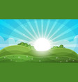 cartoon landscape - abstract sun vector image vector image