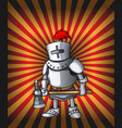 cartoon postcard knight royal steel crusader vector image