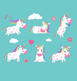 cartoon unicorns cute fairy tale animals in vector image vector image