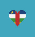 central african republic flag icon in a heart vector image vector image