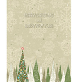 christmas forest over grunge background vector image vector image