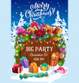 christmas party flyer with xmas tree gifts snow vector image vector image