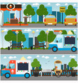 city street park embankment interior flat vector image vector image