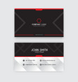 clean business card template red and black vector image vector image