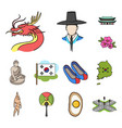 country south korea cartoon icons in set vector image vector image
