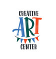 creative art center flat logo drawing vector image