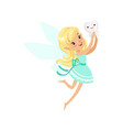 cute cartoon blonde tooth fairy girl flying with vector image vector image