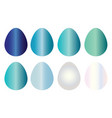eight easter eggs in blue shades set vector image vector image